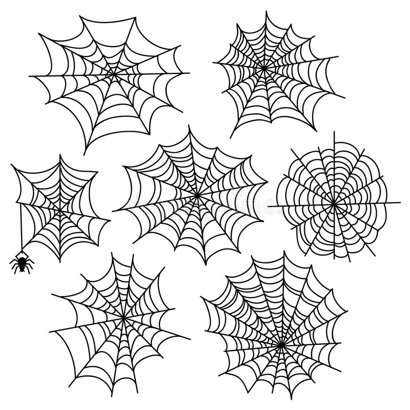 Grupo do vetor da Web de aranha de Dia das Bruxas Elementos da decoração da teia de aranha ilustração do vetor