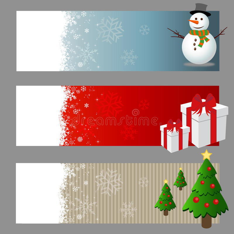 Grupo do vetor das bandeiras do Natal ilustração stock