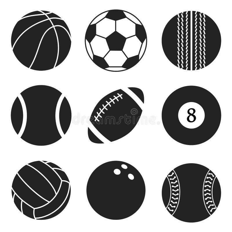 Grupo do vetor das bolas dos esportes Ícones da bola dos desenhos animados Coleção preto e branco do corte Estilo liso ilustração stock