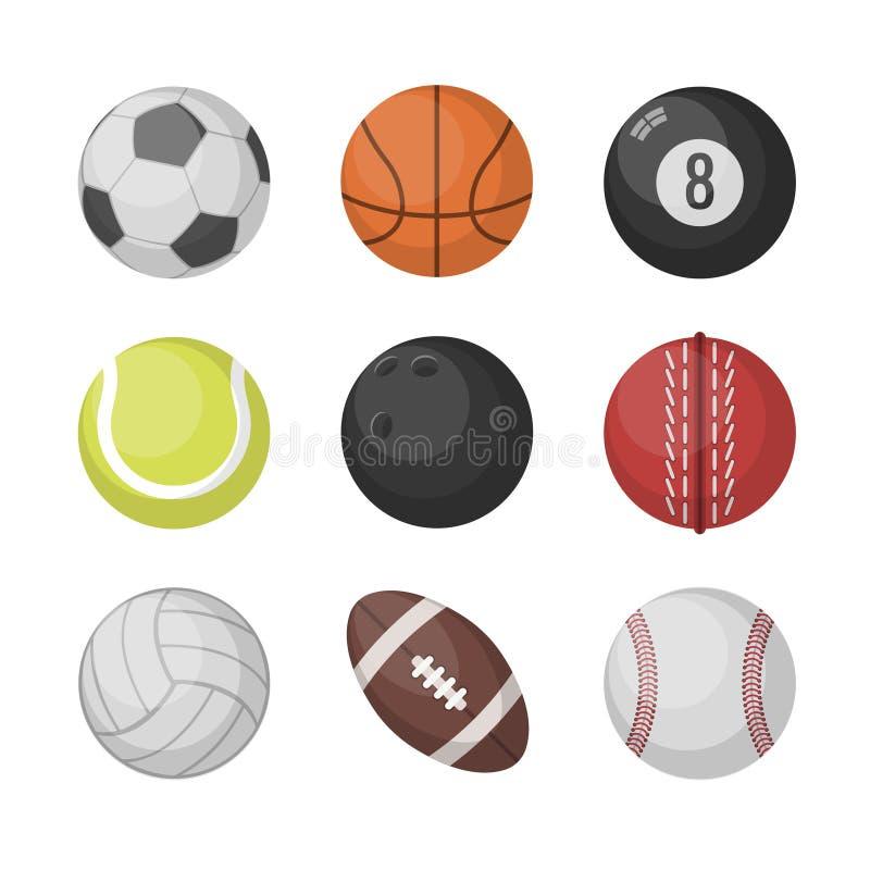 Grupo do vetor das bolas dos esportes Basquetebol, futebol, tênis, futebol, basebol, boliches, golfe, voleibol ilustração do vetor