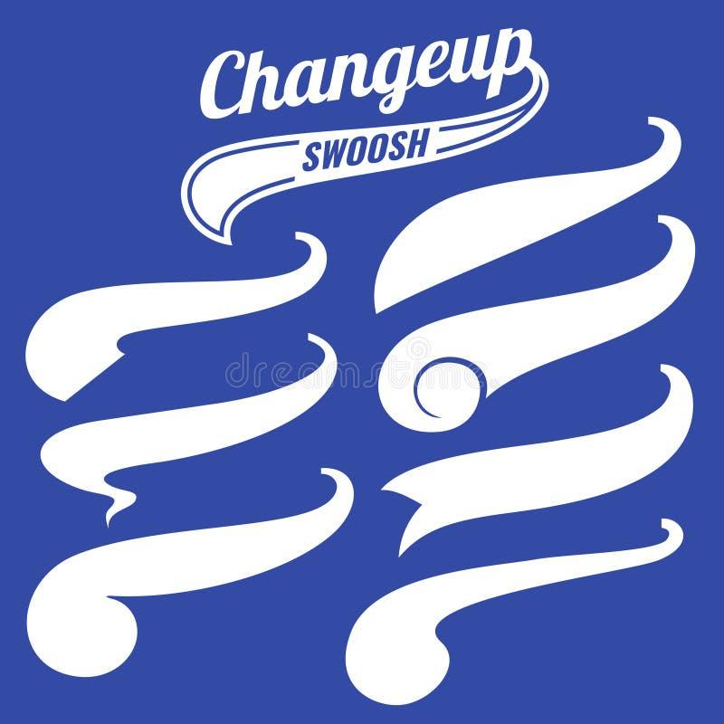 Grupo do vetor das caudas do logotipo do basebol do swash do vintage ilustração stock