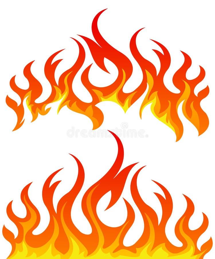 Grupo do vetor das chamas do fogo foto de stock royalty free