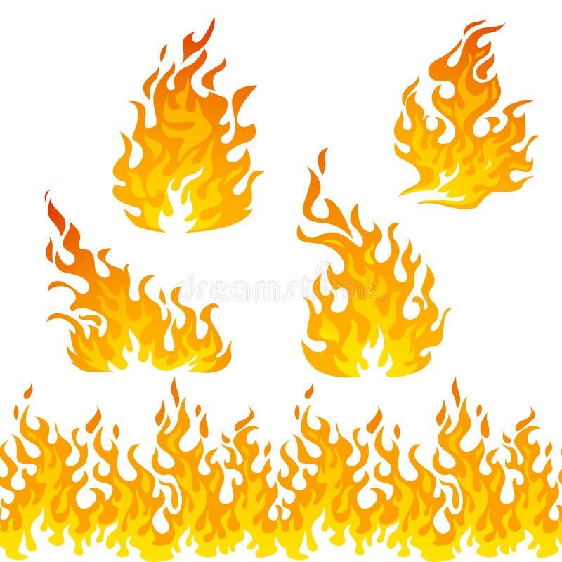 Grupo do vetor das chamas do fogo ilustração royalty free