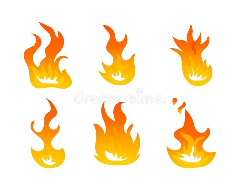Grupo do vetor das chamas do fogo dos desenhos animados Efeito da luz da ignição, símbolos flamejantes Energia quente da chama, a ilustração stock