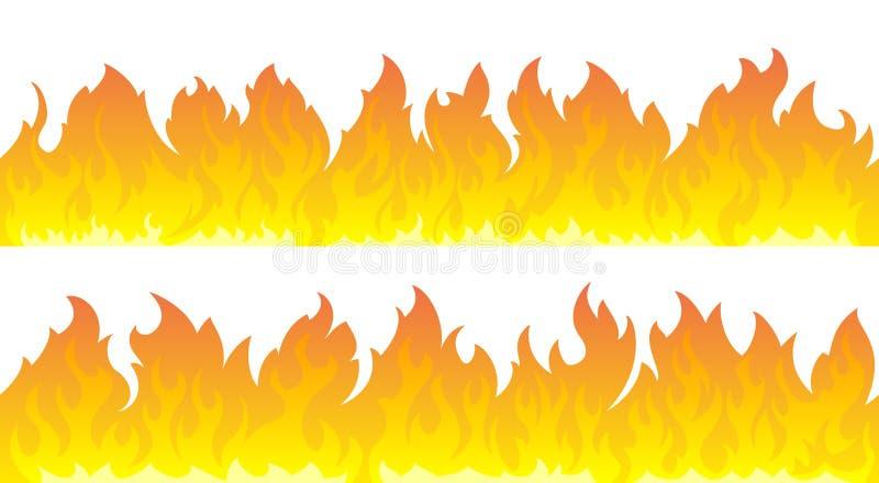 Grupo do vetor das chamas do fogo Linhas de fogo ilustração stock