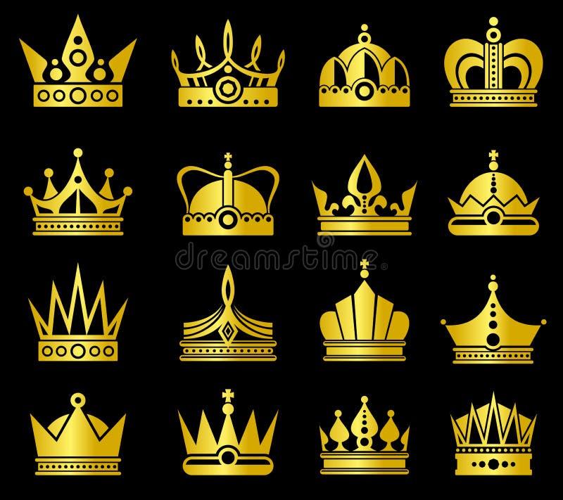 Grupo do vetor das coroas do ouro ilustração do vetor
