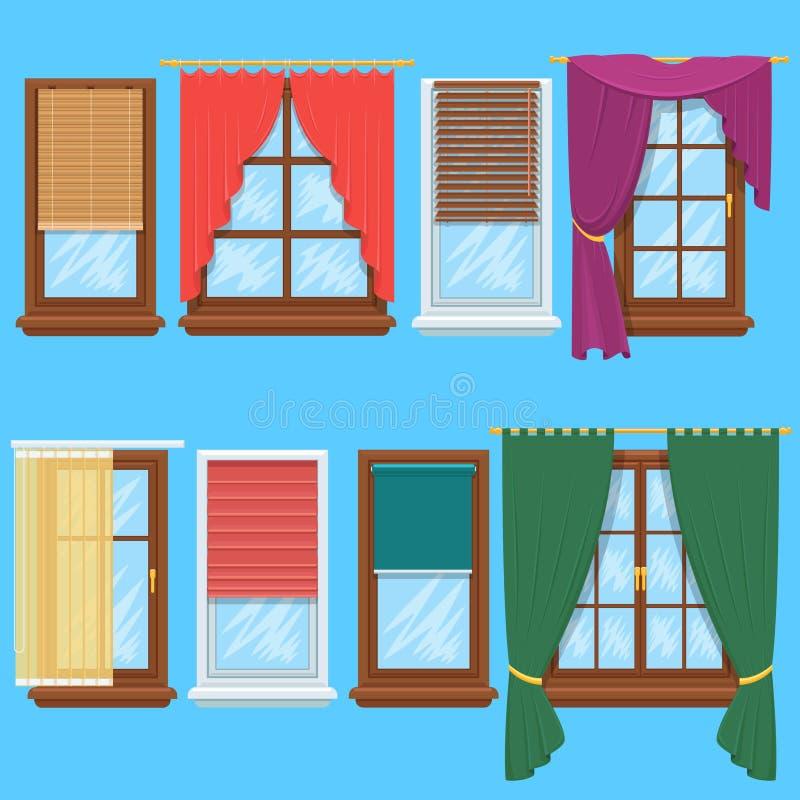 Grupo do vetor das cortinas e das cortinas de janela ilustração do vetor