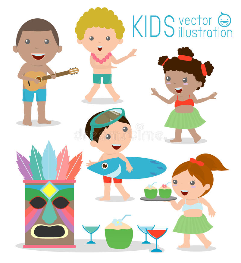 Grupo do vetor das crianças de Havaí, Hawaiian, desenhos animados ajustados de Havaí Crianças de Havaí ilustração stock