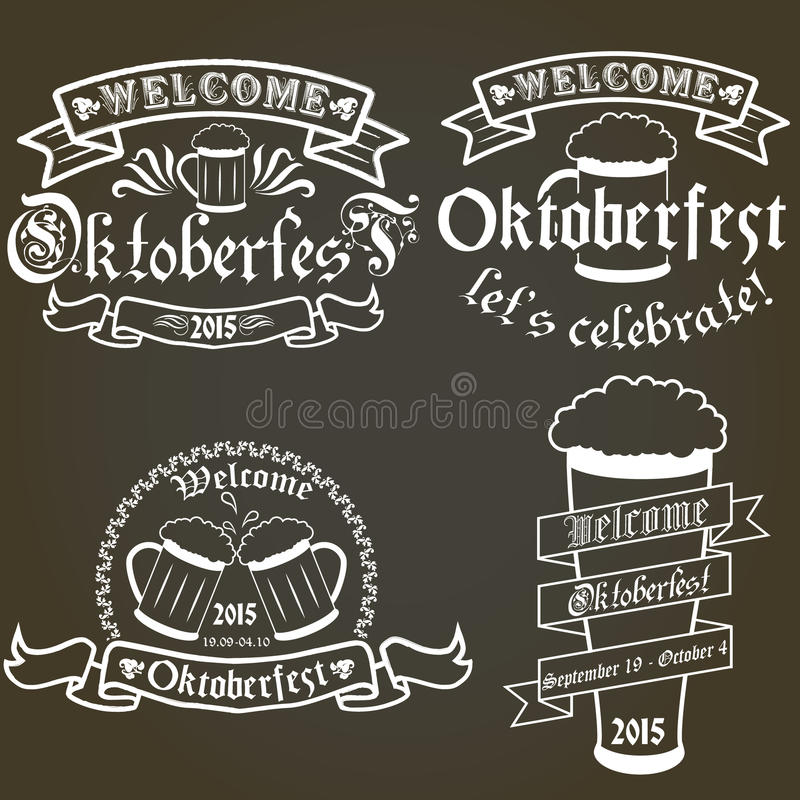 Grupo do vetor das etiquetas as mais oktoberfest, elementos do projeto ilustração do vetor