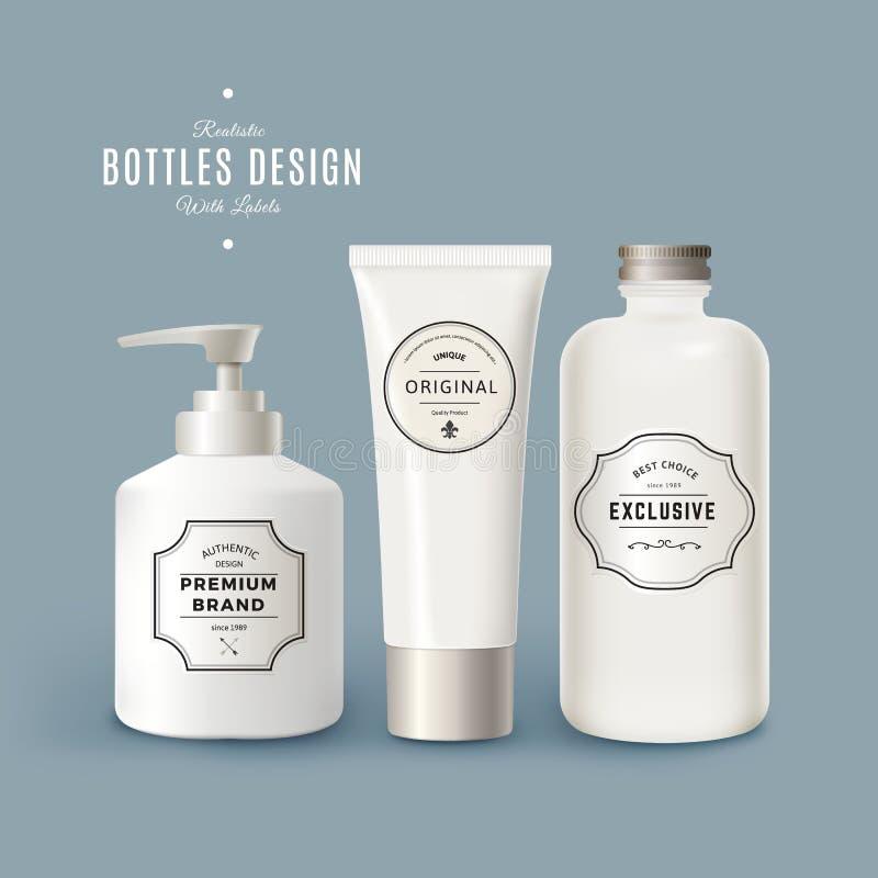 Grupo do vetor das garrafas plásticas realísticas brancas com etiquetas do vintage Projeto de empacotamento do produto Zombaria d ilustração royalty free