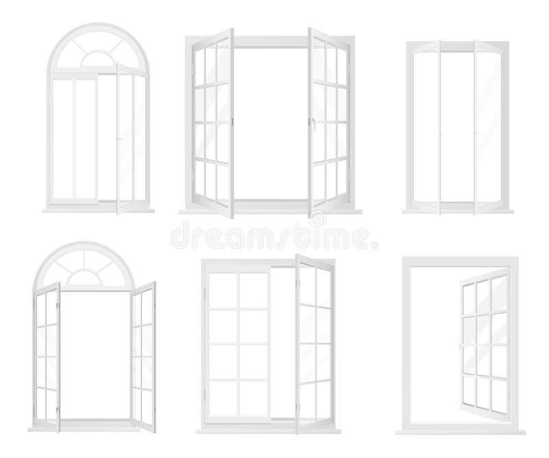 Grupo do vetor das janelas realísticas brancas isoladas ilustração stock