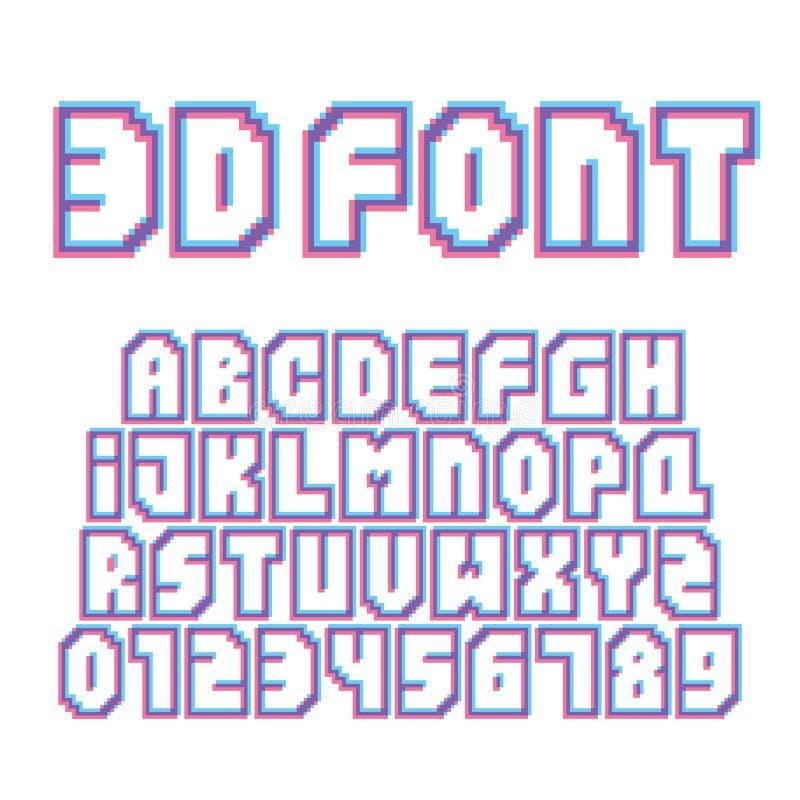 Grupo do vetor das letras e dos números do efeito estereofônico do estilo da arte do pixel ilustração royalty free