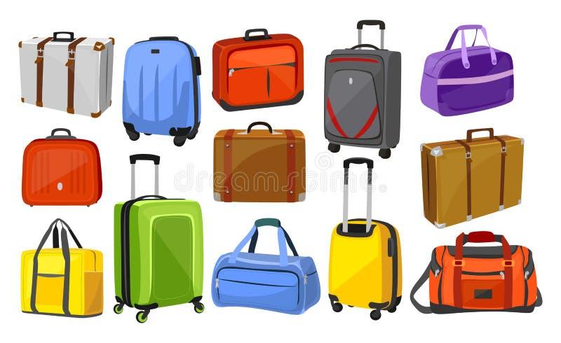 Grupo do vetor das malas de viagem do curso no branco ilustração stock
