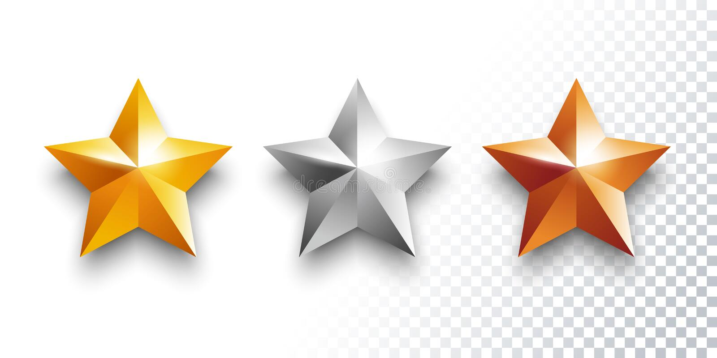 Grupo do vetor das medalhas do ouro, do prata e as de bronze com estrelas ilustração do vetor