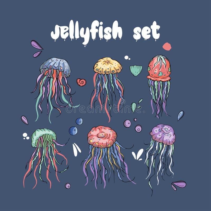 Grupo do vetor das medusas ilustração do vetor