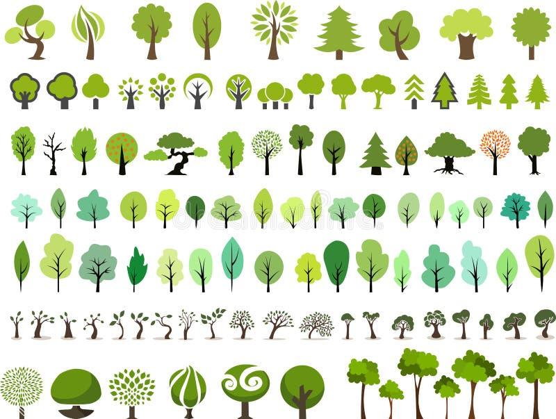 Grupo do vetor de árvores com estilo diferente ilustração stock