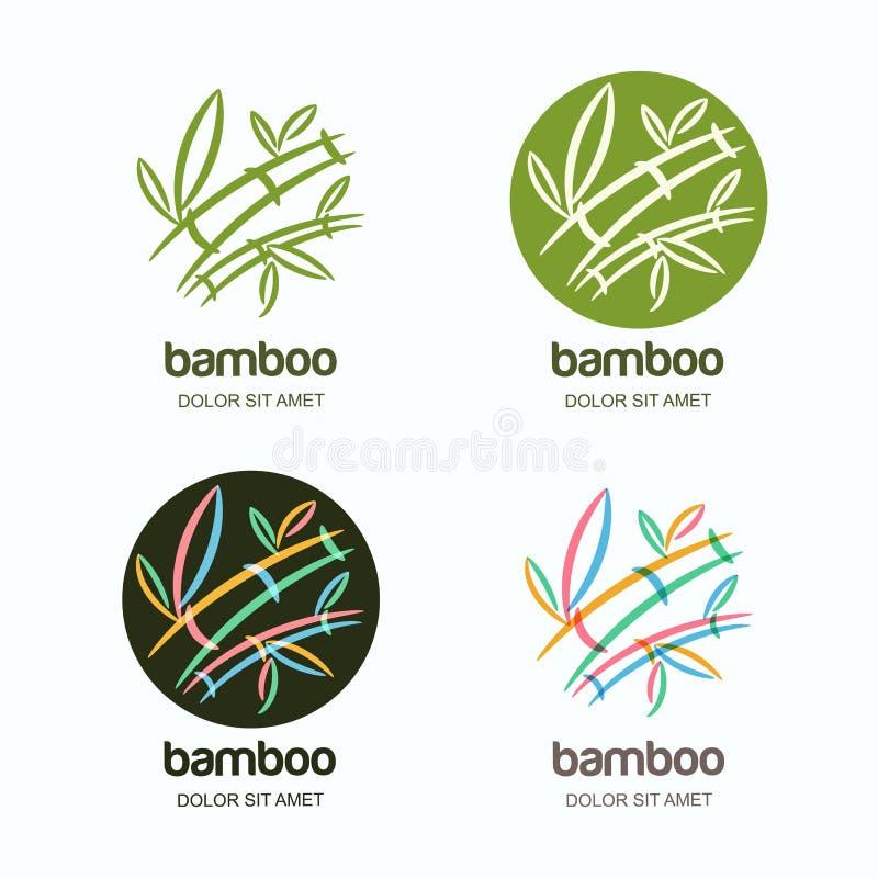 Grupo do vetor de ícone ou de emblema do logotipo com a planta de bambu criativa multicolorido tirada mão ilustração stock