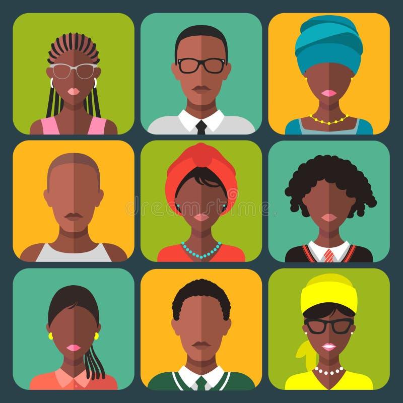 Grupo do vetor de ícones africanos diferentes do app dos povos no estilo liso Pessoa de cor fêmea e masculina do grupo Caras zamb ilustração royalty free