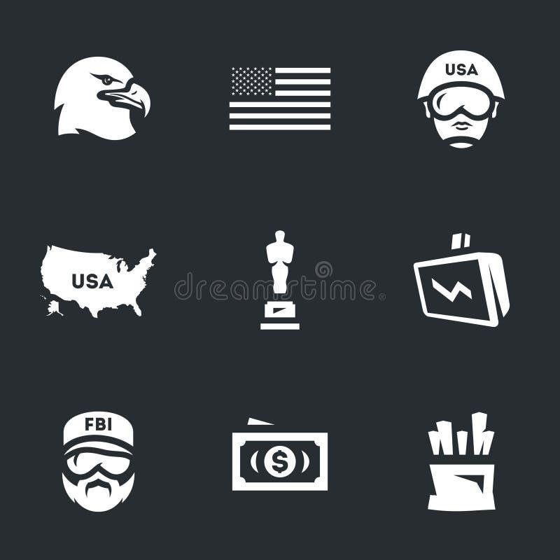 Grupo do vetor de ícones de América ilustração royalty free