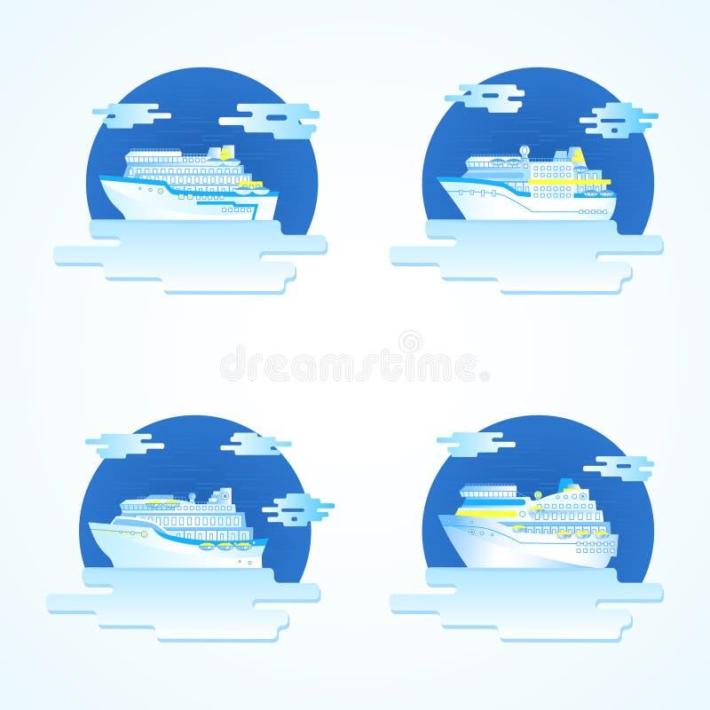 Grupo do vetor de ícones com navios de cruzeiros ilustração royalty free
