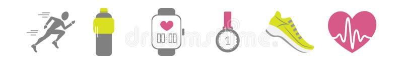Grupo do vetor de ícones de corrida do esporte - pessoa movimentando-se, tênis de corrida, coração batendo com pusle, garrafa ilustração royalty free