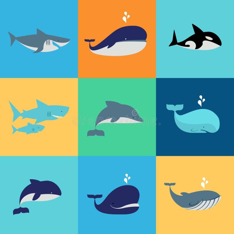 Grupo do vetor de ícones da baleia, do golfinho e do tubarão ilustração stock