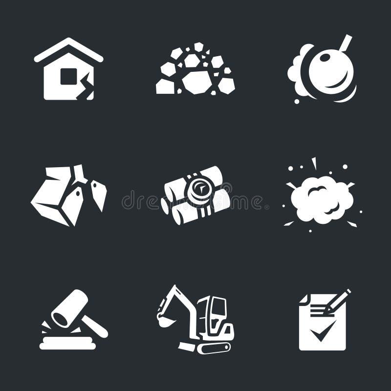 Grupo do vetor de ícones da demolição ilustração royalty free