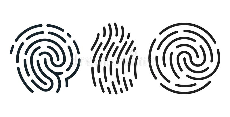 Grupo do vetor de ícones da impressão digital ilustração stock