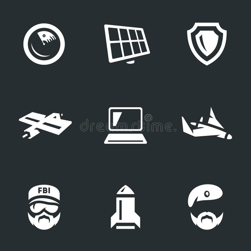Grupo do vetor de ícones da inteligência militar ilustração stock