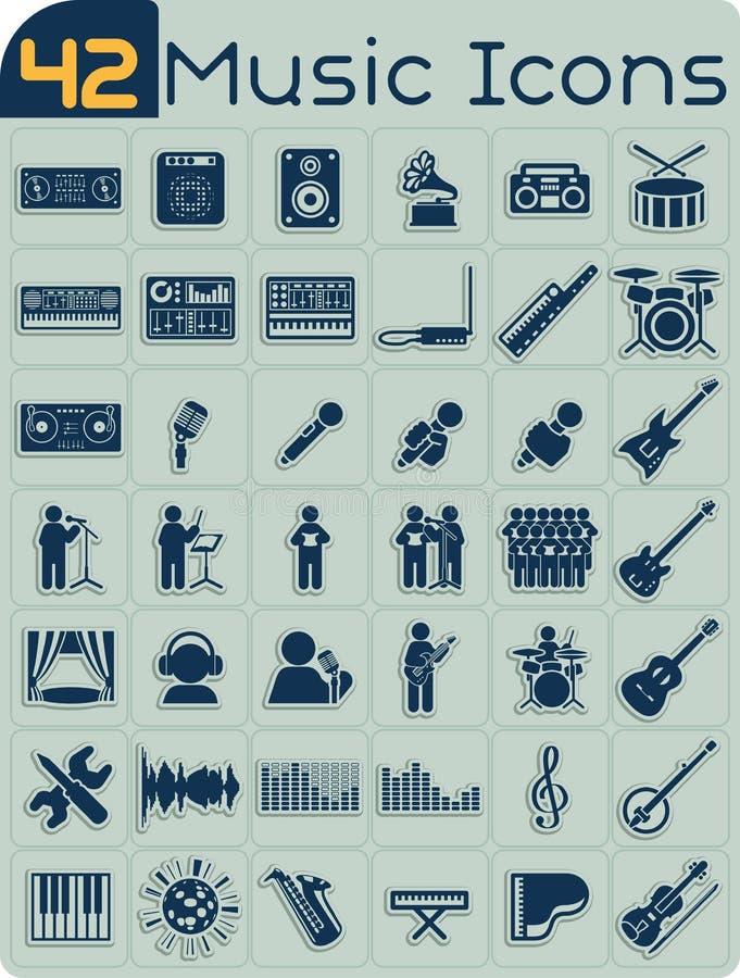 Grupo do vetor de 42 ícones da música ilustração do vetor