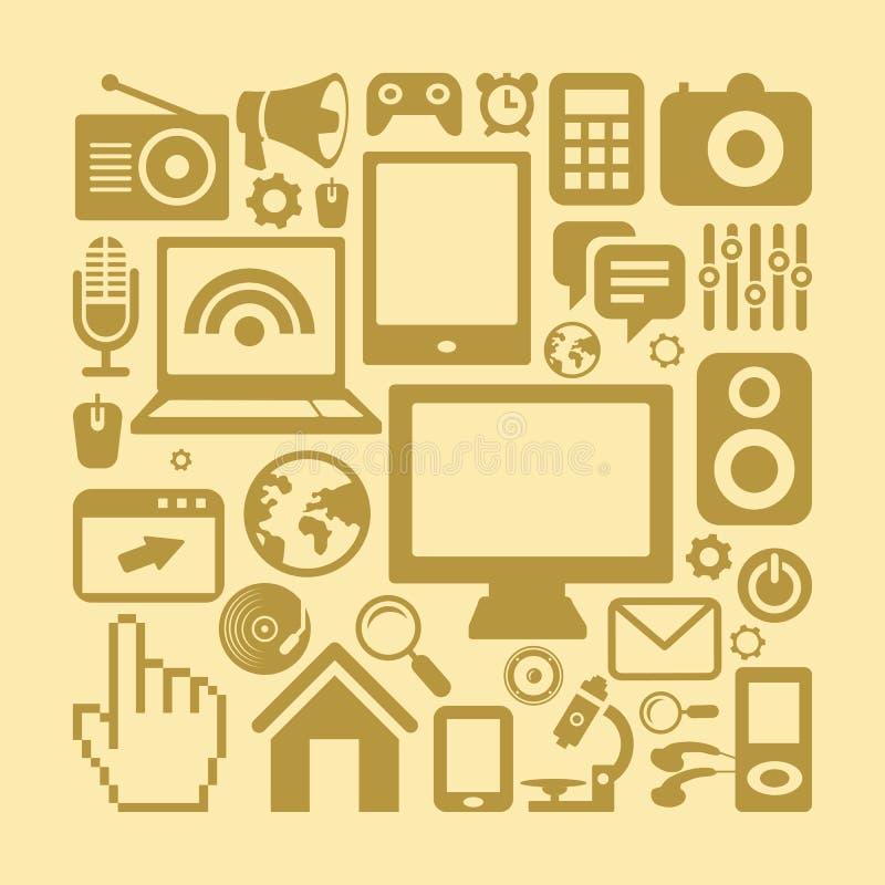 Grupo do vetor de ícones da tecnologia no estilo retro ilustração do vetor