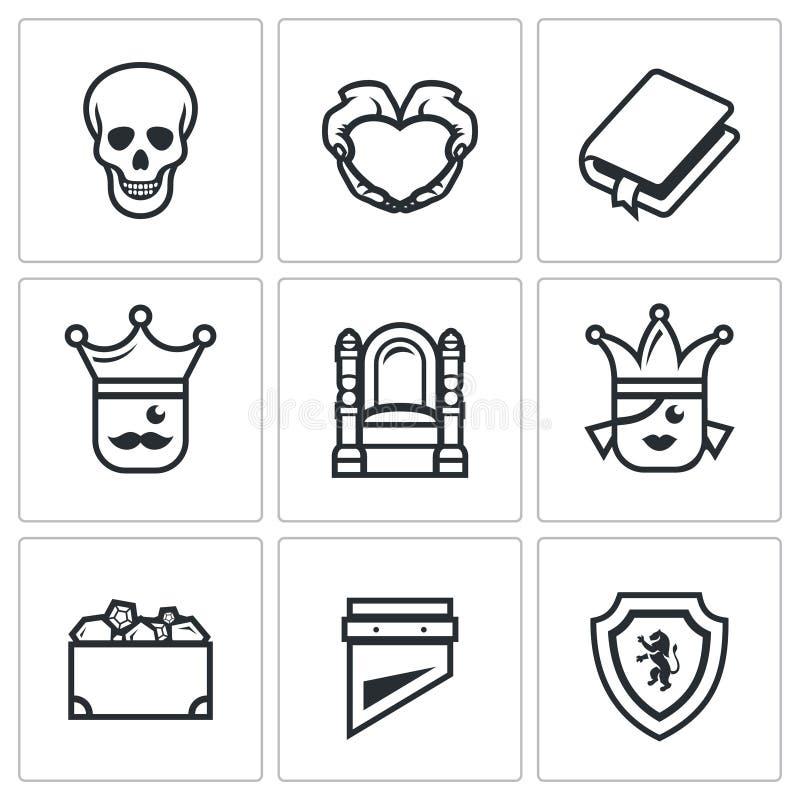 Grupo do vetor de ícones da tragédia de Hamlet ilustração stock