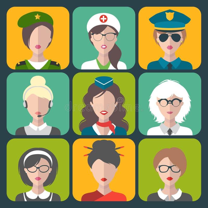 Grupo do vetor de ícones diferentes do app da mulher das profissões no estilo liso na moda ilustração royalty free