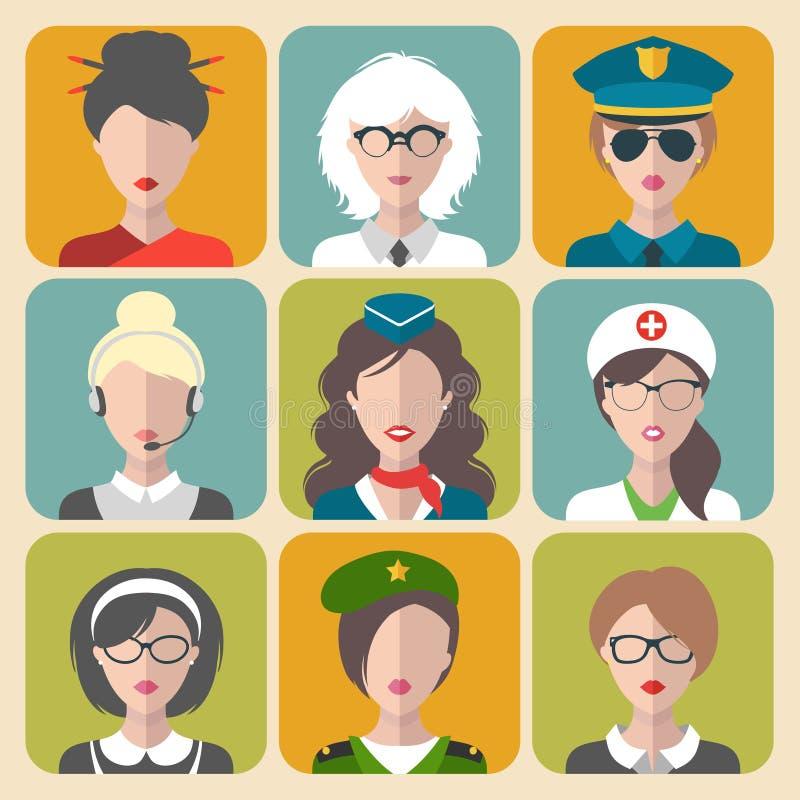 Grupo do vetor de ícones diferentes do app da mulher das profissões no estilo liso na moda ilustração stock