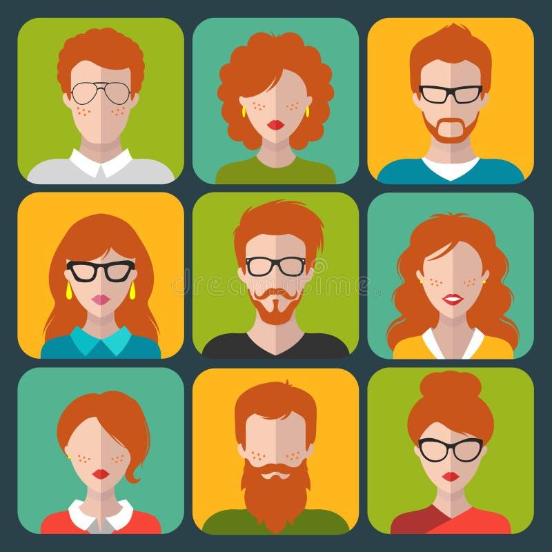 Grupo do vetor de ícones diferentes do app dos povos do ruivo no estilo liso Coleção das imagens das cabeças e das caras dos povo ilustração royalty free