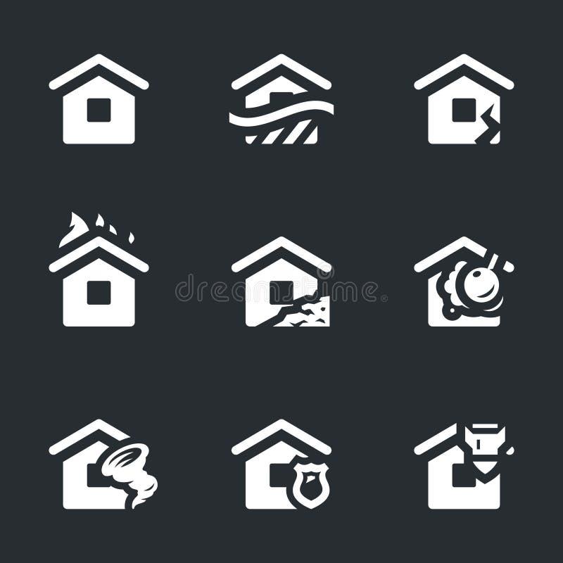 Grupo do vetor de ícones do acidente do alojamento ilustração royalty free