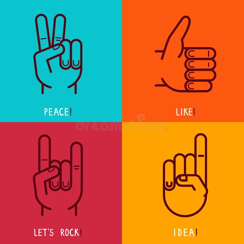 Grupo do vetor de ícones do esboço - gestos e sinais ilustração stock