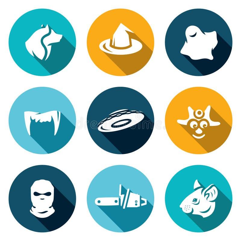 Grupo do vetor de ícones do medo ilustração do vetor