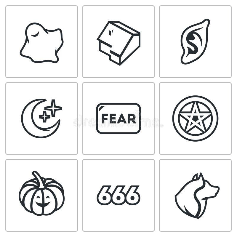Grupo do vetor de ícones do medo Ghost, casa, vampiro, noite, diabo, Dia das Bruxas, estrela, homem-lobo ilustração royalty free