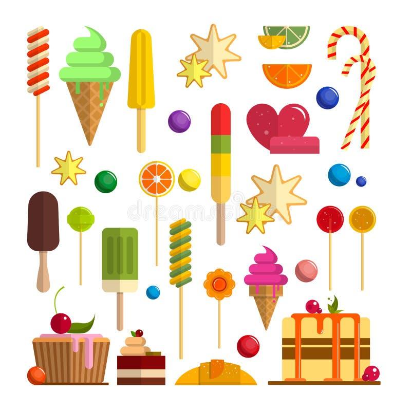 Grupo do vetor de ícones doces do alimento no estilo liso Elementos do projeto isolados no fundo branco Cones de gelado, doces ilustração stock