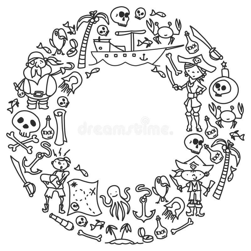 Grupo do vetor de ícones dos desenhos das crianças dos piratas no estilo da garatuja Monocromáticas pintado, preto, imagens em um ilustração stock