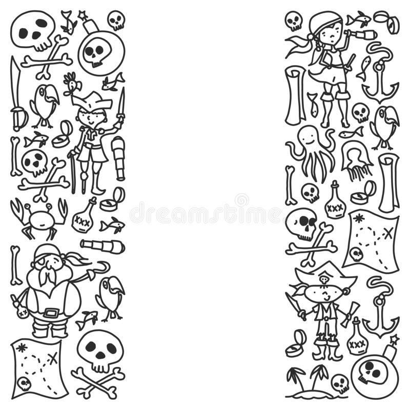Grupo do vetor de ícones dos desenhos das crianças dos piratas no estilo da garatuja Monocromáticas pintado, preto, imagens em um ilustração do vetor