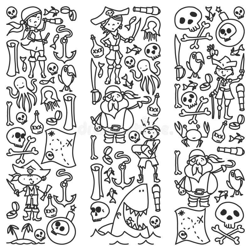 Grupo do vetor de ícones dos desenhos das crianças dos piratas no estilo da garatuja Monocromáticas pintado, preto, imagens em um ilustração royalty free