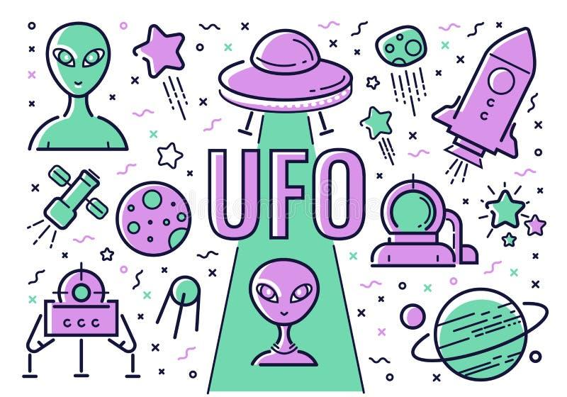 Grupo do vetor de ícones e de ilustrações a propósito de UFOs ao estilo do plano ilustração do vetor