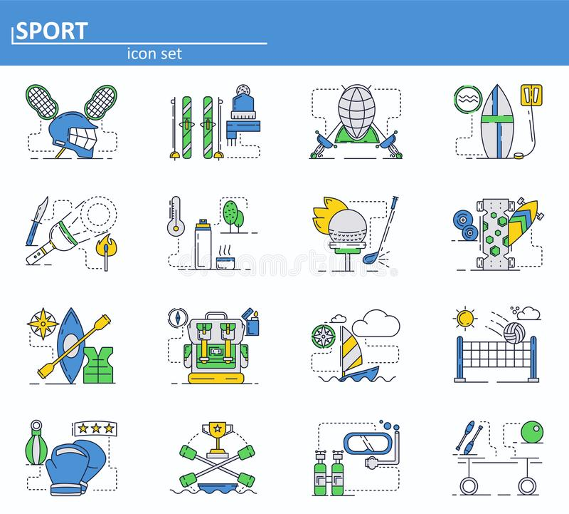 Grupo do vetor de ícones do esporte na linha estilo fina Voleibol, lacrosse, esqui, cercando, golfe, trouxa Web site UI e ilustração stock