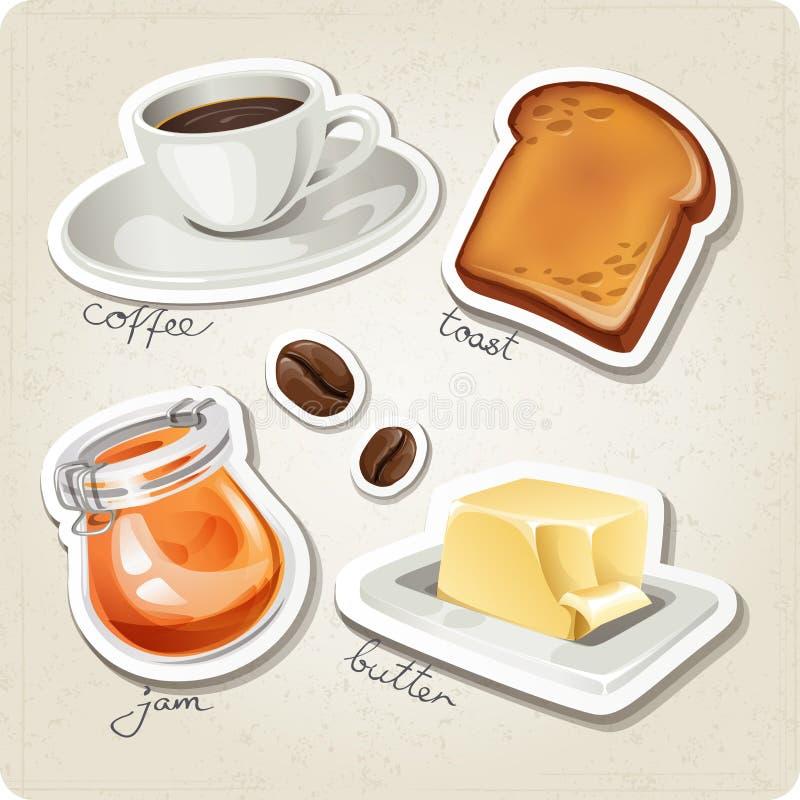 Grupo do vetor de ícones estilizados do alimento. ilustração royalty free
