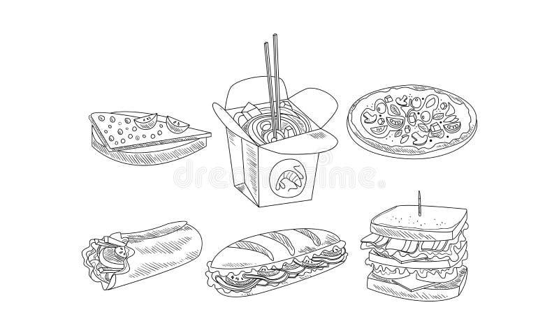 Grupo do vetor de ícones do fast food Sanduíches saborosos, burrito, caixa dos macarronetes e pizza Projeto tirado mão ilustração royalty free