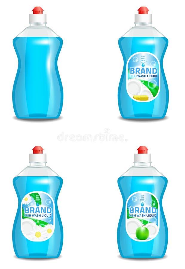 Grupo do vetor de ícones líquidos do produto da lavagem da louça realística isolados no fundo Projeto plástico da etiqueta da gar ilustração do vetor