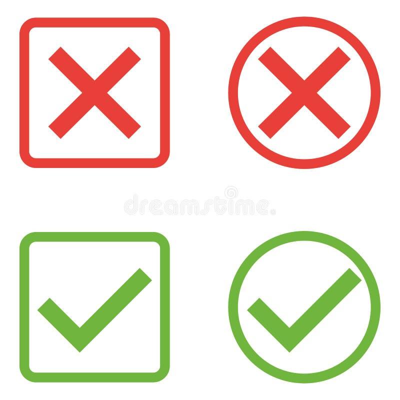 Grupo do vetor de ícones lisos das marcas de verificação do projeto As variações diferentes dos tiquetaques e das cruzes represen ilustração royalty free
