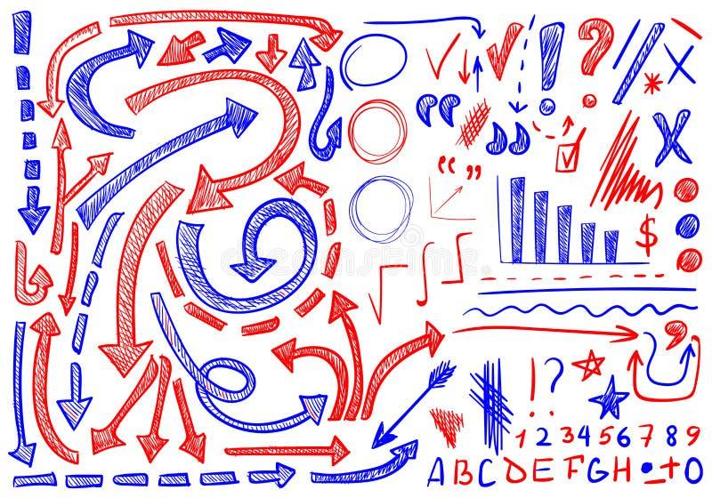 Grupo do VETOR de ícones mão-esboçados Elementos para a correção ou o planeamento do texto cor azul e vermelha ilustração royalty free